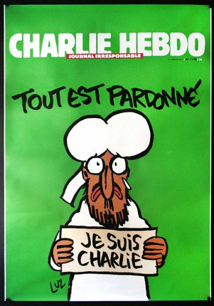 Charlie Hebdo Je Suis Charlie Bus Shelter Poster Large Rare Original Vintage Poster Chisholm Larsson Gallery