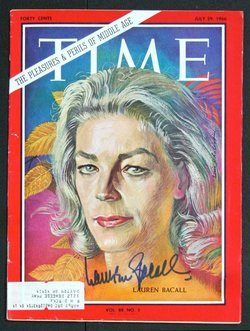 Time - July 29, 1966 - Lauren Bacall (Hand signed)